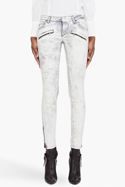Pierre Balmain White Washed Zip Jeans in White - Lyst
