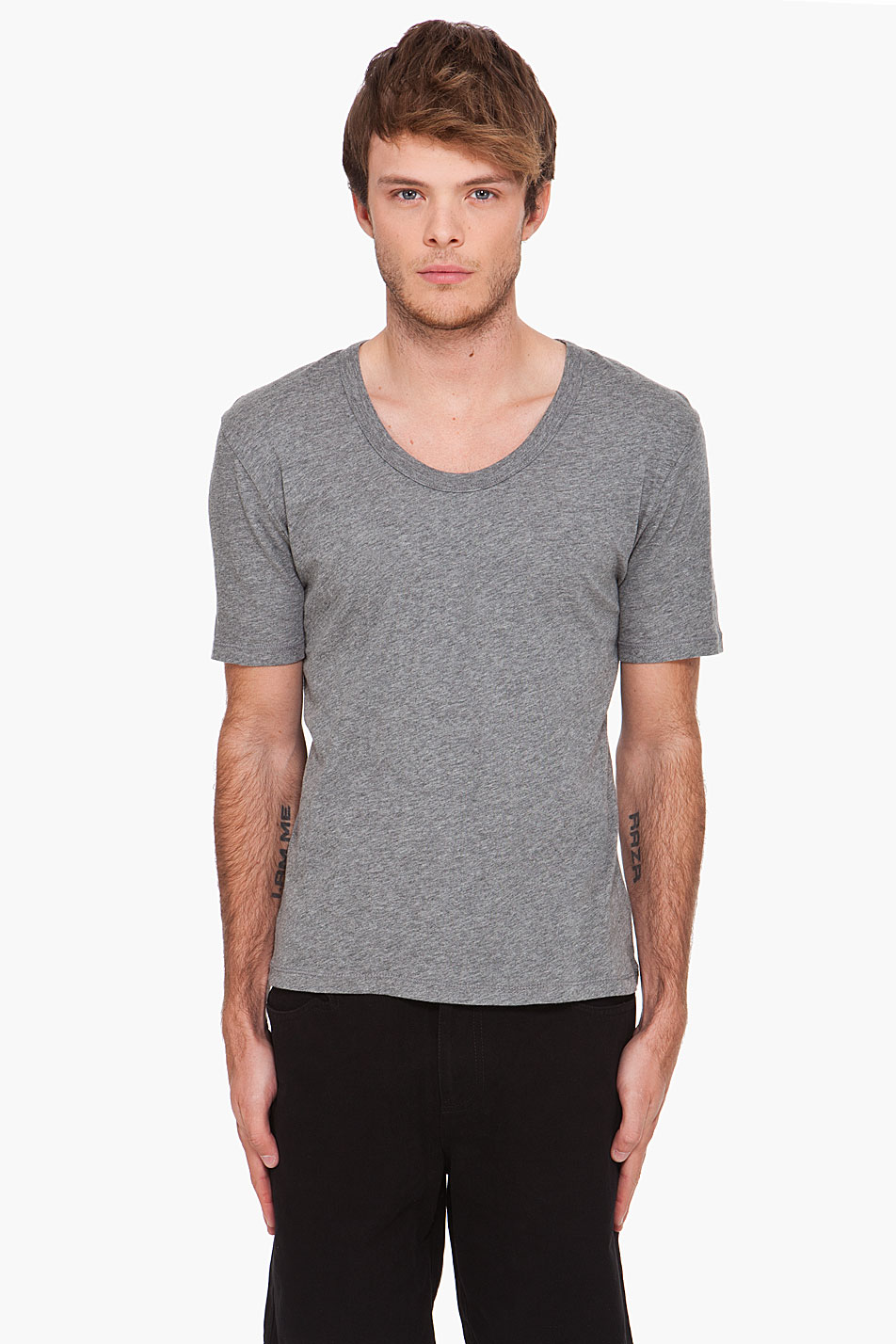 T By Alexander Wang Classic Low Neck T Shirt In Gray For