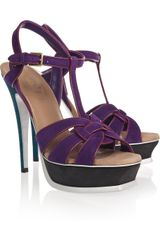 Saint Laurent Tribute Color-block Suede Sandals - Lyst