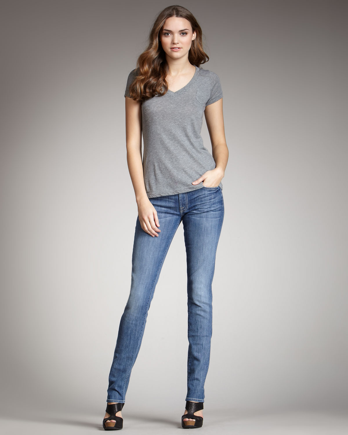 7 for all mankind Roxanne Heritage Light Skinny Jeans in Blue | Lyst