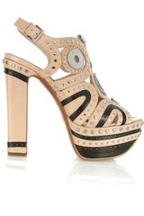 Alaïa Embellished Leather Platform Sandals in Beige (nude) - Lyst