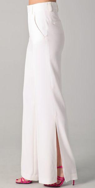 Alice Olivia Wide Leg Side Slit Pants In White Lyst
