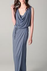 Beyond Vintage Cowl Neck Dress with Rope Belt - Lyst