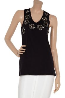 Felder Felder Maria Carla Embellished Perforated Cotton Top - Lyst
