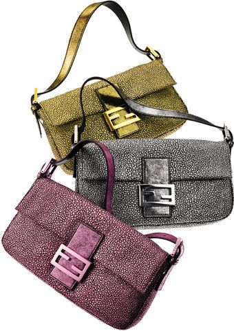 Fendi Crackled Suede Baguette, Blue Or Pink - Lyst