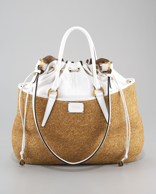 Lyst Fendi Drawstring Top Raffia Bag In Metallic