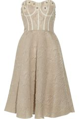 Lela Rose Appliquéd Textured-organza Bustier Dress - Lyst