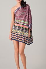 M Missoni Lace Stripe One Shoulder Dress - Lyst