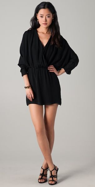 Parker Long Sleeve Ruched Dress In Black Lyst