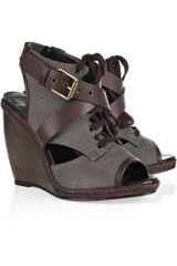 Pierre Hardy Canvas and Leather Wedge Sandals - Lyst