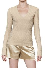 Ralph Lauren Black Label Cashmere Cable Knit V Neck - Lyst