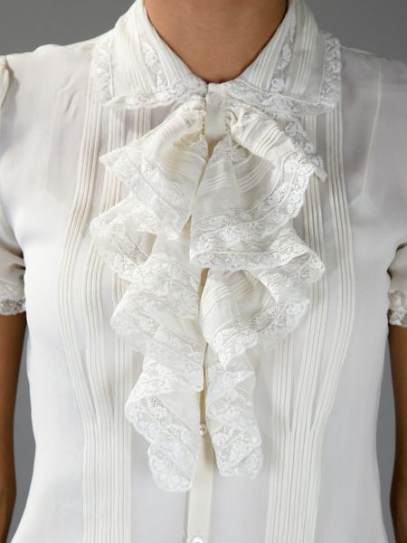 Lace Ruffle Blouse Ruffled Blouse in White