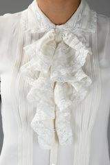Ralph Lauren Lace Ruffled Blouse in White - Lyst