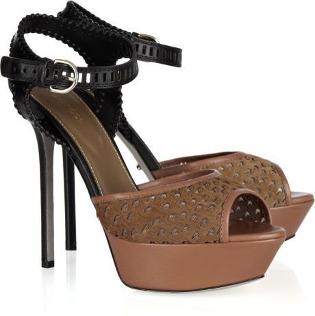 Sergio Rossi Leather and Calfhair Sandals in Brown - Lyst