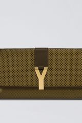 Yves Saint Laurent Perforated Leather Y Clutch - Lyst