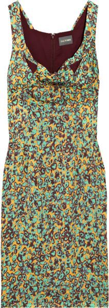Zac Posen Printed Silk Dress in Green - Lyst