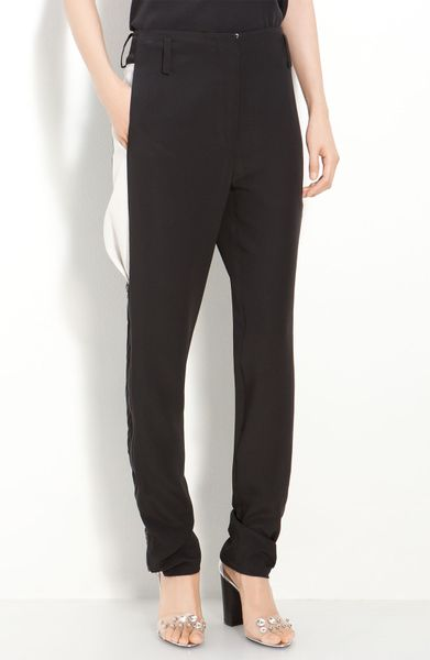 3.1 Phillip Lim Silk Crêpe De Chine Side Panel Trousers in Black (black/ antique white)