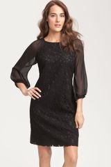 Adrianna Papell Lace & Chiffon Shift Dress - Lyst