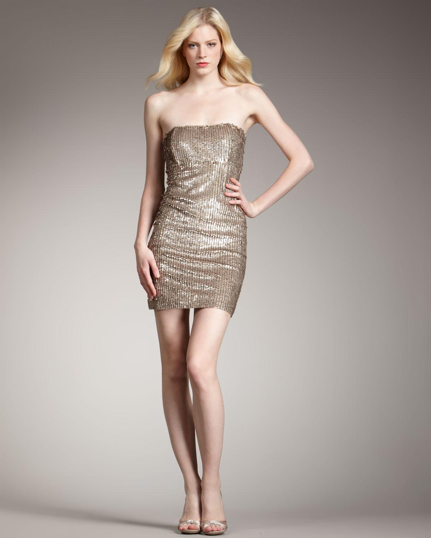 Metallic gold tube mini dress