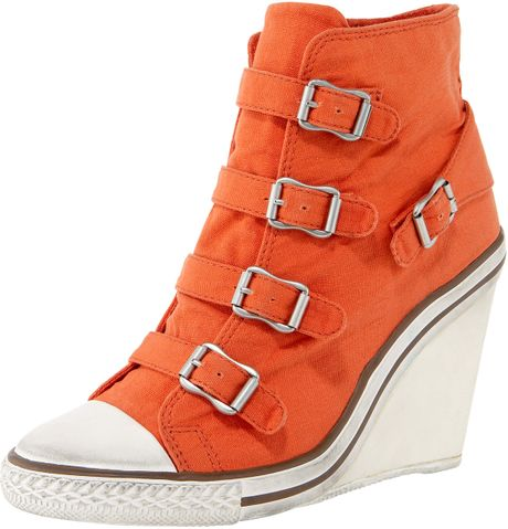 Wedge Sneakers in Orange