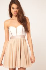 Asos Collection Skater Dress with Lace Bustier in Beige (cream) - Lyst