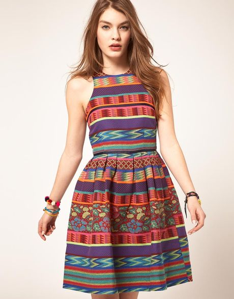 Asos Collection Asos Skater Dress in Mexican Print in Multicolor (print) - Lyst