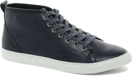 Asos Asos Mid Top Leather Trainers in Black for Men (navy) - Lyst