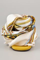 Avec Moderation Print Scarf Ankle Wrap Sandals in Gold - Lyst