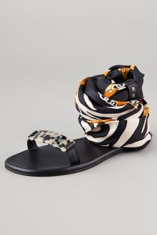 Avec Moderation Print Scarf Ankle Wrap Sandals - Lyst