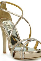 Badgley Mischka Fierce - Rose Metallic Leather Sandal - Lyst