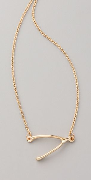 Belle Noel Wishbone Side Station Necklace in Gold - Lyst
