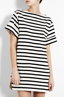 By Malene Birger Cream and Black Nagat Breton Stripe Tunic Dress - Lyst