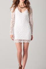 Catherine Malandrino Long Sleeve Crochet Dress - Lyst
