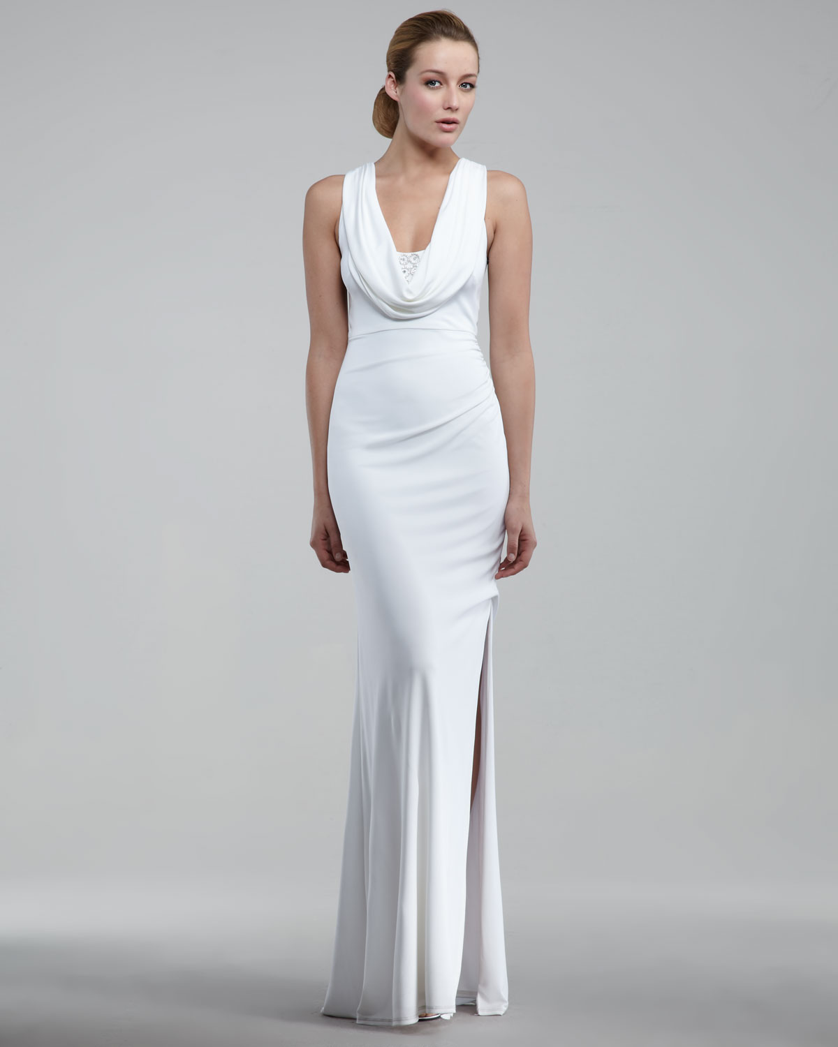 79bf7d357f9 David Meister Cowl-neck Gown in White - Lyst