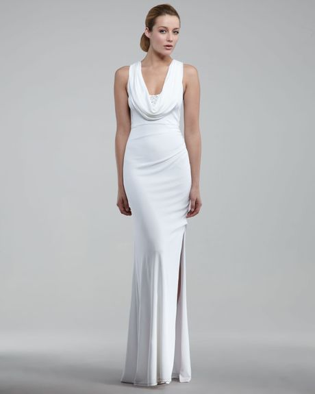 Cowl Neck Silk Sheath Wedding Gowns: David Meister Cowl-neck Gown In White