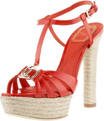 Dior Tomato Red Patent Leather Espadrille Stacked Heel Platforms - Lyst