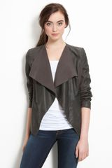 Elie Tahari Drape Collar Leather Jacket - Lyst
