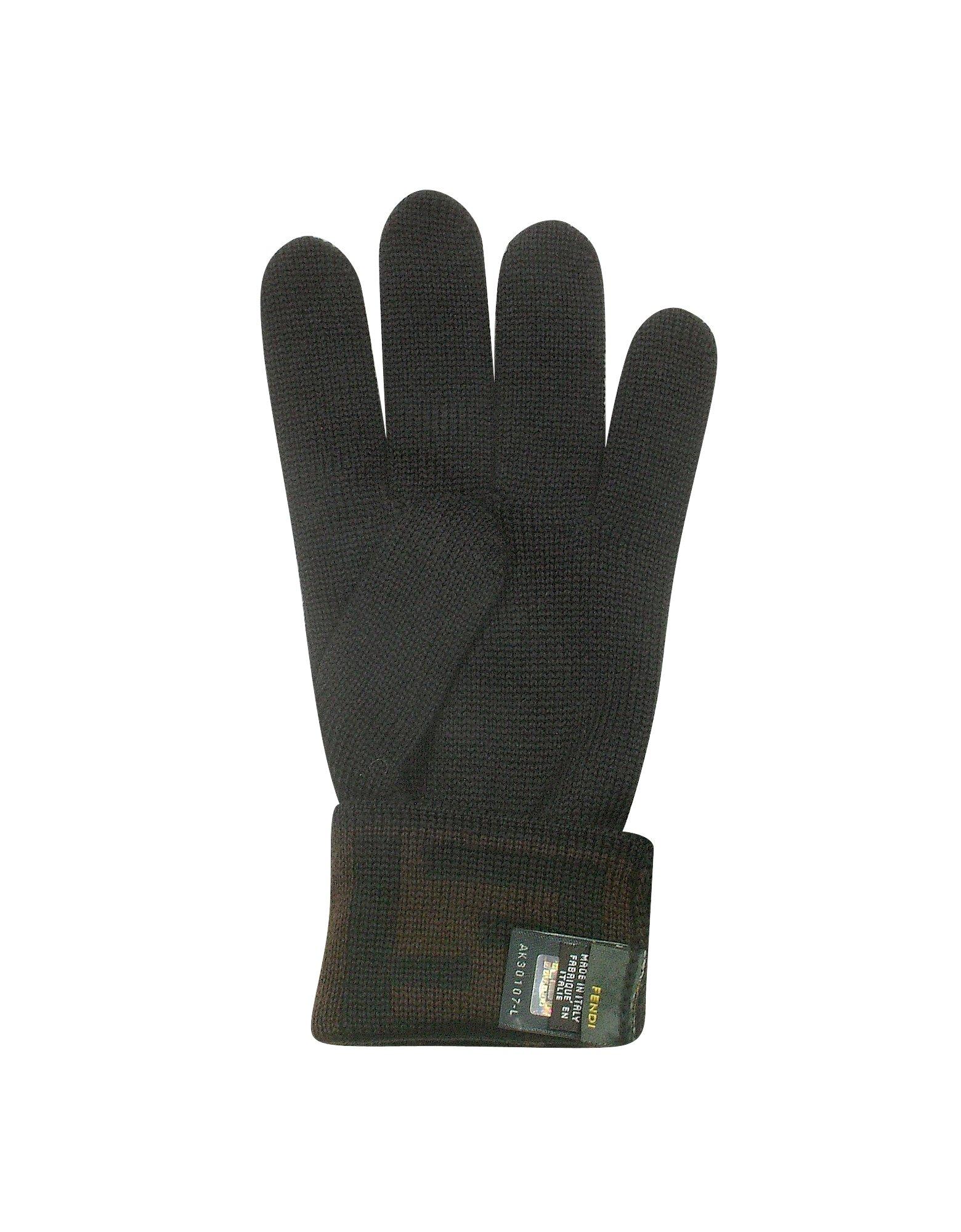 2ae83c9a1992 Lyst - Fendi Mens Black   Brown Macro Zucca Logo Cuff Wool Gloves in ...