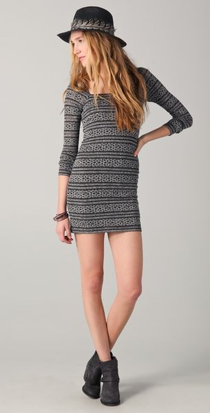 Free People Good Girl Gone Bad Dress In Gray Black Lyst