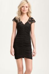 Free People Lace Cap Sleeve Ruched Dress - Lyst