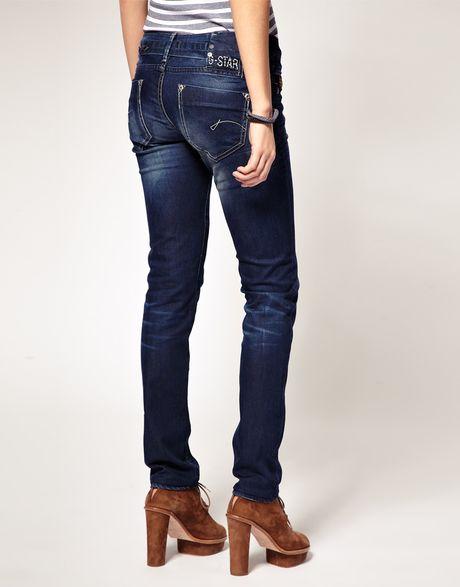 g star raw midge skinny jeans in blue darkdenim lyst. Black Bedroom Furniture Sets. Home Design Ideas
