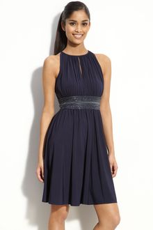 Js Boutique Cutaway Shoulder Beaded Jersey Dress - Lyst