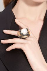 Lanvin Faux Pearl Cross Ring - Lyst