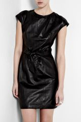 Love Moschino Black Leather Dress With Tie Bow Waist - Lyst
