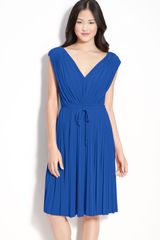 Maggy London Pleated Jersey Dress - Lyst