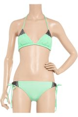 Mara Hoffman Embroidered Triangle Bikini in Green (mint) - Lyst