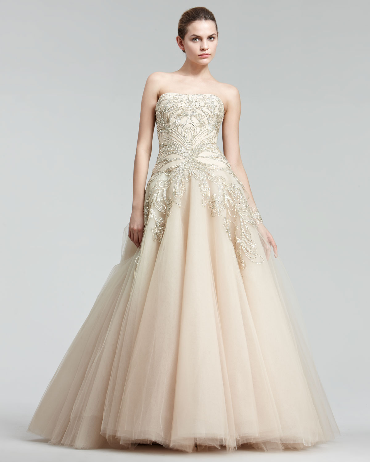 0ce2e7f6 Marchesa Embroidered Princess Gown in Metallic - Lyst