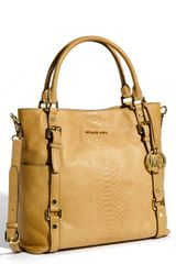 Michael by Michael Kors Bedford Python Embossed Leather Tote - Lyst