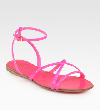 Miu Miu Patent Leather Criss-cross Sandals - Lyst