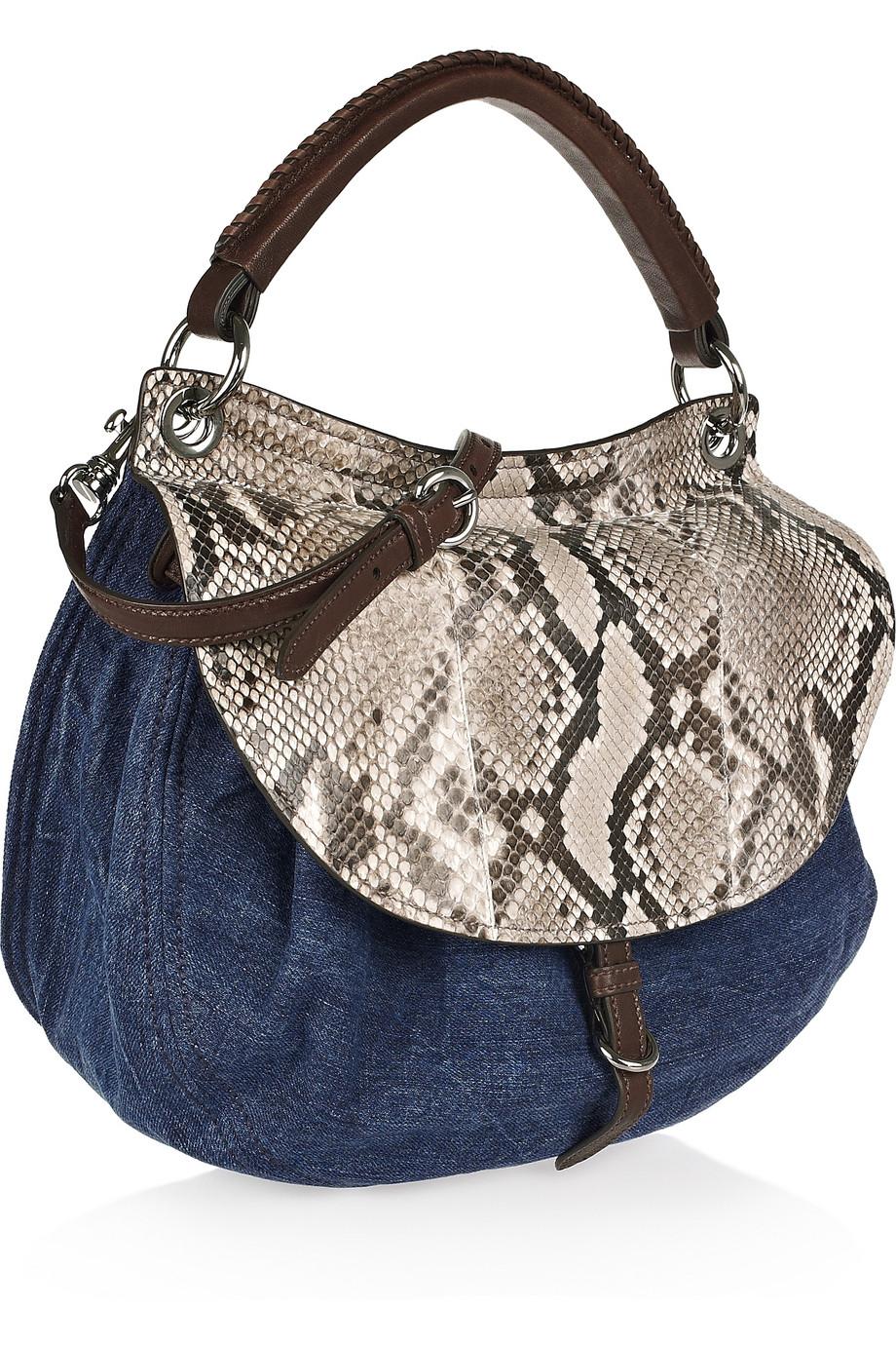 Lyst miu denim and python shoulder bag in blue jpg 920x1380 Miu python tote e2b9d03692144